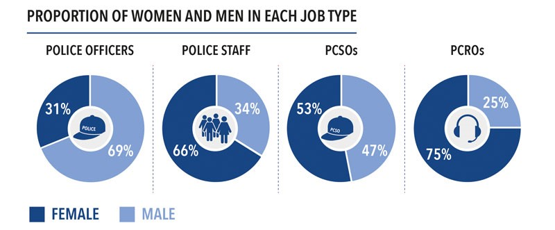 Proportion of Women and Men in each Job Type