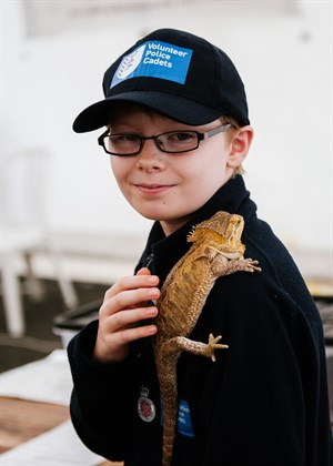 Cadet with lizzard