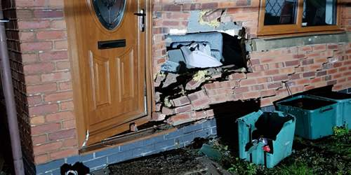 Appeal after car rammed into Morecambe home