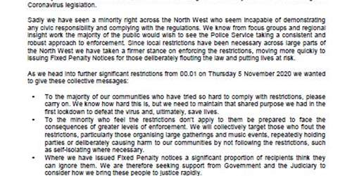 Open letter from Chief Constables of the five North West police forces ahead of implementation of latest COVID restrictions